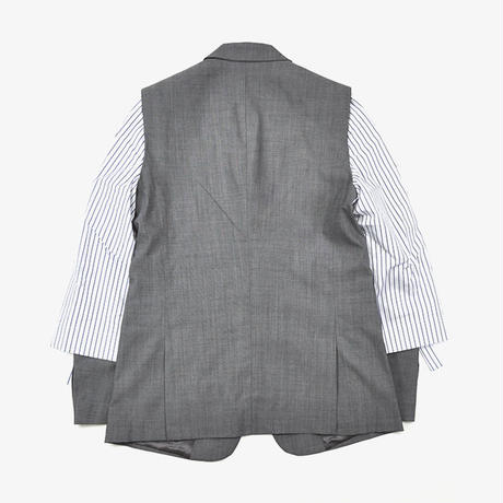 DELADA | BLAZER WITH COTTON ROLLED SLEEVES | LIGHT GREY
