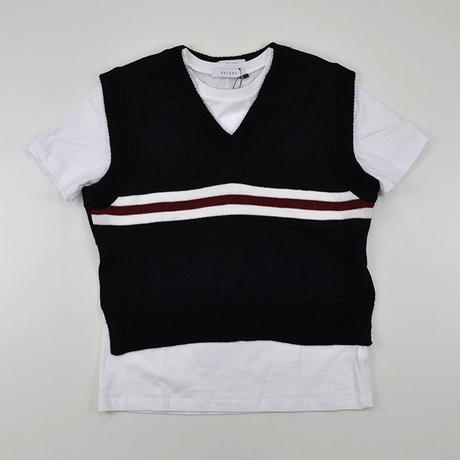 DELADA | T-SHIRT WITH HANGING KNITTED VEST  | WHITE&NAVY