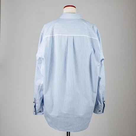 オーガニックコットンストライプシャツ-ライトブルー