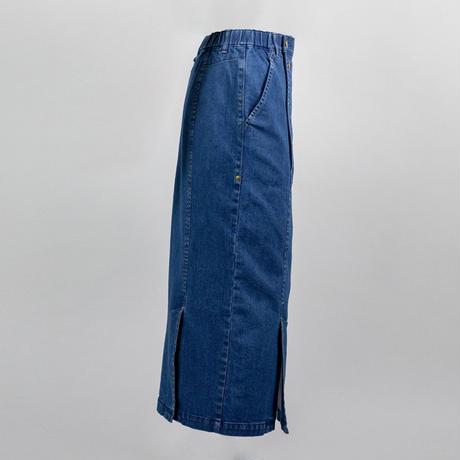 オーガニックコットンストレッチデニムスカート -ブルー