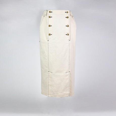 オーガニックコットンストレッチデニムスカート -オフホワイト