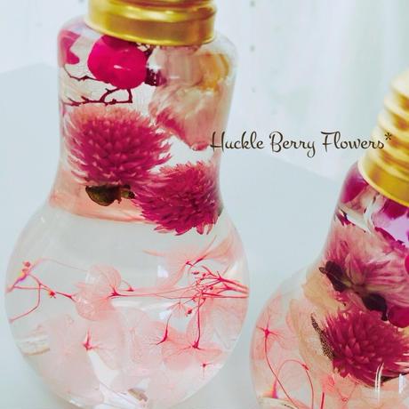 ピンク系フラワーボトルハーバリウム   Sサイズ