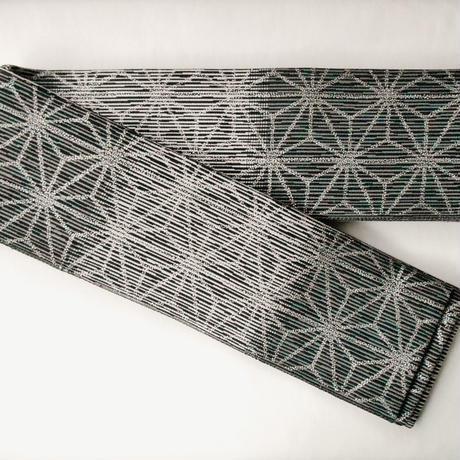 一点もの メンズ角帯 正絹(シルク)製 西陣織 麻の葉 銀