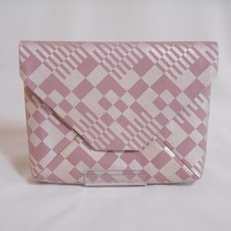 数寄屋袋 クラッチバッグ 洗い加工キャンバス スモーキーピンク色 市松 銀彩