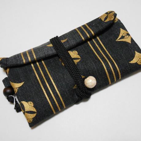 道中財布 黒デニム製(一部ブリーチ加工)雁に縞 金