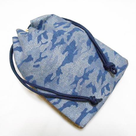 デニム製 信玄袋 合切袋 カモフラ 迷彩 銀 着物 作務衣 浴衣