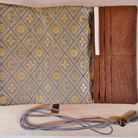 本革製 道中財布 茶色 デザインオーダー 正絹組紐