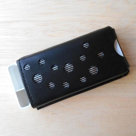 本革製 フリスクケース 黒 ホログラム