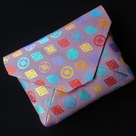 #数寄屋袋 #クラッチバッグ #シルク(正絹)#ピンク地 #七宝 #レインボーカラー #色箔