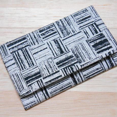 銀ラメシルク(正絹)黒地製 名刺入れ カードケース 市松 銀