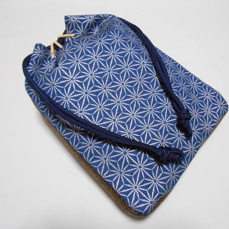 デニム紺地製 信玄袋 合切袋 竹節 麻の葉 銀 巾着 家紋
