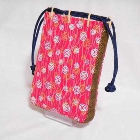 帆布赤ピンク製 ショルダー付き 信玄袋 合切袋 小 渦巻き ポップ 着物 浴衣 作務衣 祭り