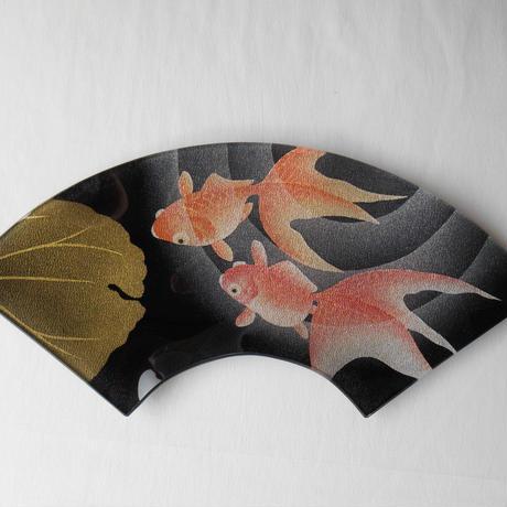 ガラス製 飾り皿 金彩 游
