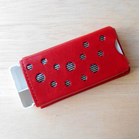 本革製 フリスクケース 赤 ホログラム