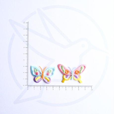アイロンワッペン【パステル蝶 2枚セット】アメリカ