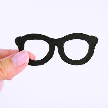 アイロンワッペン【メガネ 黒縁 Glasses】アメリカ