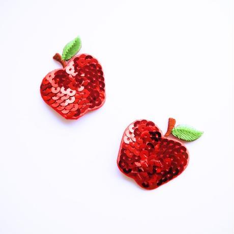 アイロンワッペン【スパンコール りんご Apple】アメリカ