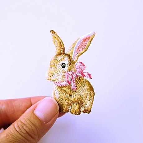 アイロンワッペン【うさぎ リボン Rabbit】アメリカ