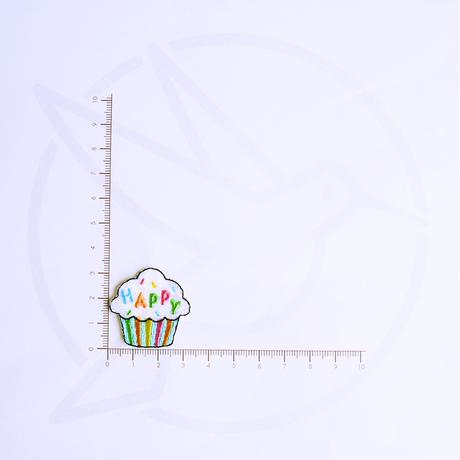 アイロンワッペン【カップケーキ happy】アメリカ
