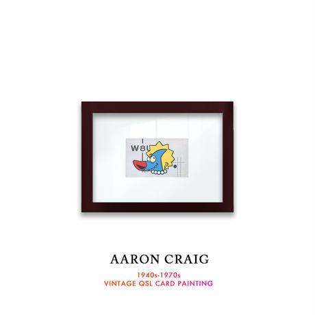 """1点物  Aaron Craig  Vintage QSL card pop mash painting """"Sharky Loves Lisa"""""""