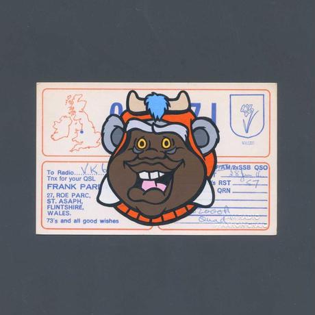 """1点物 Aaron Craig  Vintage QSL card pop mash painting """"FAT EWOK"""""""