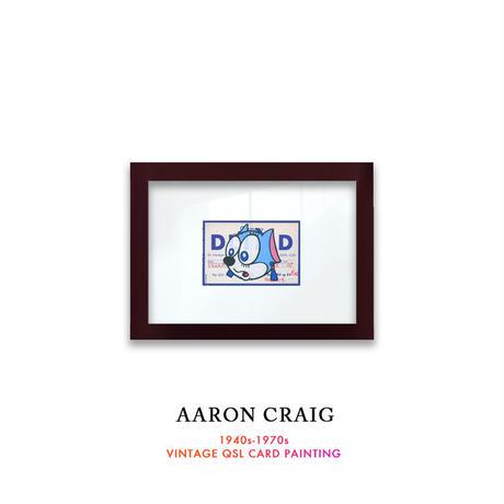 """1点物  Aaron Craig  Vintage QSL card pop mash painting """"FELINE FOLLIES"""""""