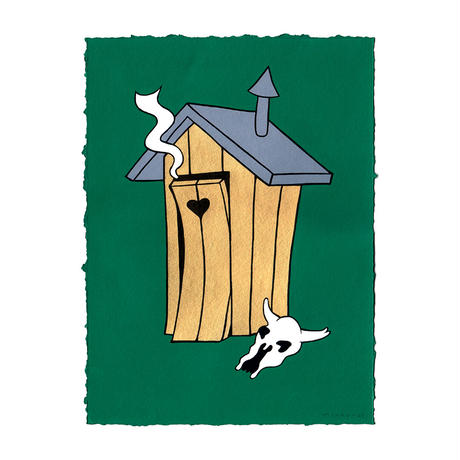"""Mikko Heino  """"Golden Outhouse"""" アート ペイント 世界中で1点のみ ハンドペイント 1点物"""