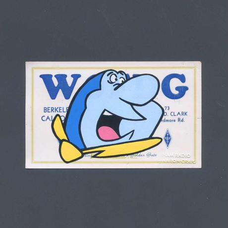 """1点物  Aaron Craig  Vintage QSL card pop mash painting """"The Great Shark Switch"""""""