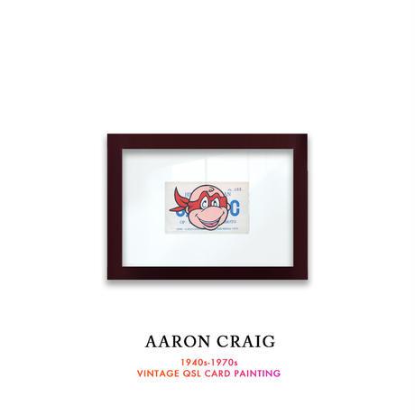 """1点物  Aaron Craig  Vintage QSL card pop mash painting """"He's a Bully, Charlie Brown"""""""