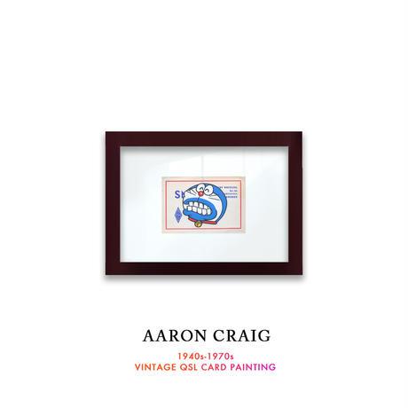 """1点物  Aaron Craig  Vintage QSL card pop mash painting """"Say Cheese!"""""""