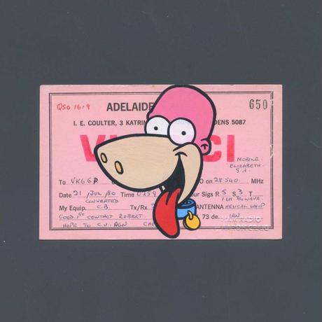 """1点物  Aaron Craig  Vintage QSL card pop mash painting """"Dino, Stay Out!"""""""