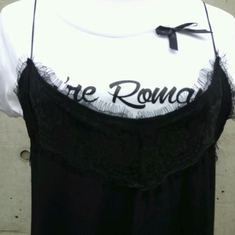 [楽チンでもセクシーに♪]RINASCIMENTOリナシメント キャミソールワンピース Tシャツ付 レース 黒ブラック イタリア製 MADEINITALY 大人可愛い