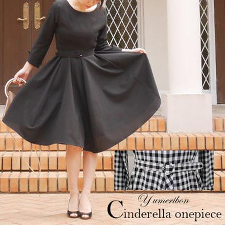 [春色スカート]ユメリボンYumeribon シンデレラワンピース 黒ブラック ギンガムチェック 膝丈 冠婚葬祭 入学式 卒業式