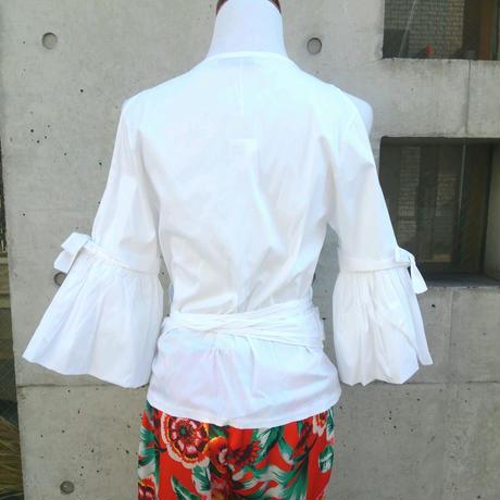 [女性らしいカシュクール]RINASCIMENTOリナシメント カシュクールシャツ ブラウス コットン リボン 白ホワイト イタリア製 MADEINITALY 大人可愛い