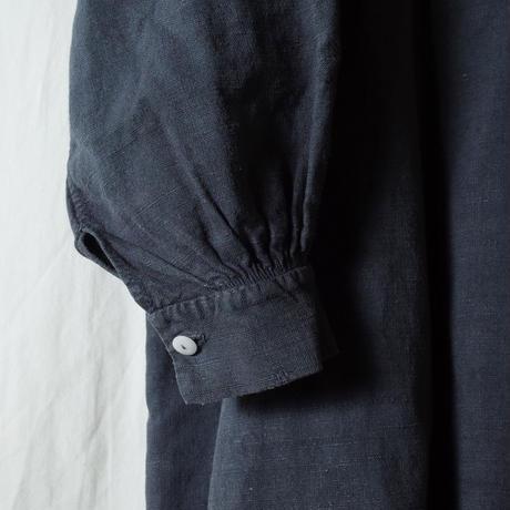 """used&vintage """"アンティークリネン後染めグランパシャツ""""(ブラック)"""