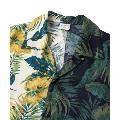 "SANDINISTA ""Aloha Panel Shirt"" (ネイビー×ホワイト)"