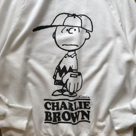 "VOTE MAKE NEW CLOTHES ""SNOOPY/CHARLIE BOTH A CREW SWEAT"" / ヴォートメイクニュークローズ ""両A面スウェット""(ホワイト)"