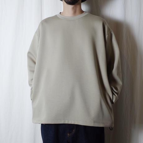 "SANDINISTA ""Double Knit Drawstring Pocket L-S Tee "" / サンディニスタ ""ダブルニット裾紐付きTシャツ"" (グレーベージュ)"