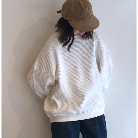 "VOTE MAKE NEW CLOTHES ""FAT THERMAL CREW"" / ヴォートメイクニュークローズ ""ファットサーマル""(ホワイト)"