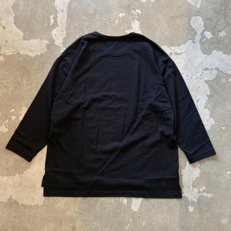 "SANDINISTA ""Side Slit C-S Pocket Tee "" / サンディニスタ ""サイドスリット9分袖Tシャツ""(ブラック)"