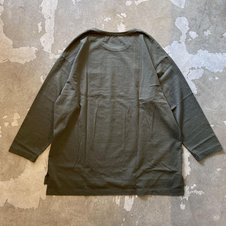 "SANDINISTA ""Side Slit C-S Pocket Tee "" / サンディニスタ ""サイドスリット9分袖Tシャツ""(オリーブ)"