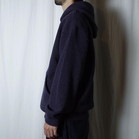 "crepuscule ""Moss stitch hoodie"" / クレプスキュール ""鹿の子パーカー"" (ネイビー)"