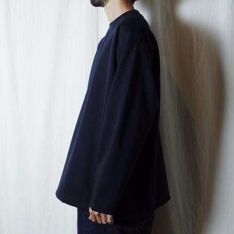 "SANDINISTA ""Double Knit Drawstring Pocket L-S Tee "" / サンディニスタ ""ダブルニット裾紐付きTシャツ"" (ブラック)"