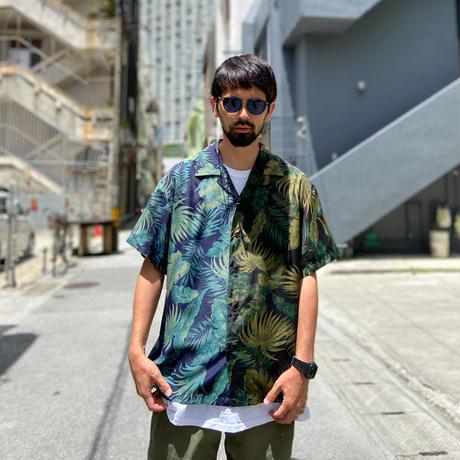 "SANDINISTA ""Aloha Panel Shirt"" (ブラック×ネイビー)"