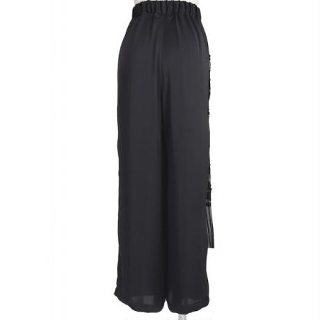 BANSAN |  See-through Flower Relaxed Pants - BLACK  BSSS20-FP006