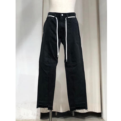 ist design project  switching curve panel slit denim pants  G