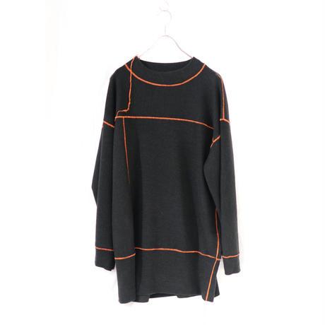 osakentaro  big stitch long pullover BLACK ORANGE