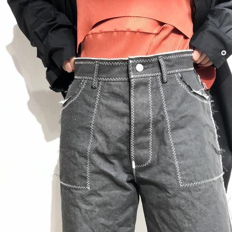 osakentaro    zigzag stitch denim pants