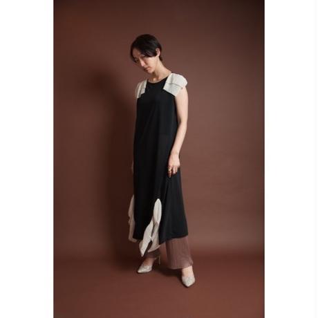 BANSAN Pleat jersey long dress-BLACK