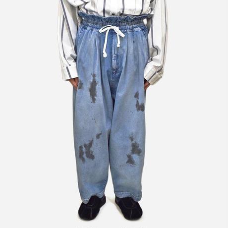 my beautiful landlet  8oz DENIM WIDE EASY PANTS / BLUE